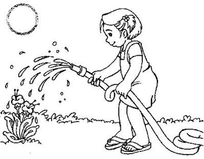 desenho de crianaa regando um jardim desenhos ambientais para imprimir - Atividades para o Dia da árvore